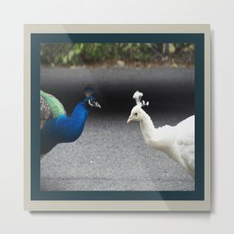Mirror Image in Blue and White Metal Print