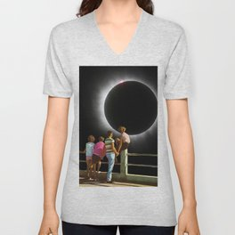 Watching the eclipse Unisex V-Neck