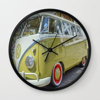 lime green Wall Clocks featuring Lime Green Camper Van by Cornish Creations