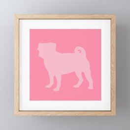 Pastel Pink Pugs Pattern Framed Mini Art Print