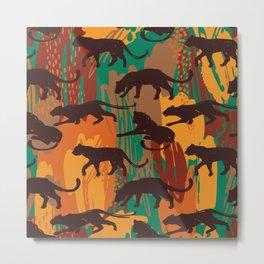 Safari orange green watercolor brushstrokes animal wild jaguar pattern Metal Print