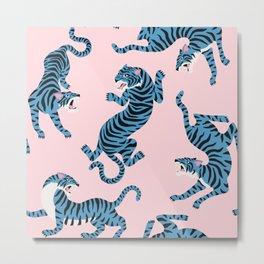Pastel Pink & Blue Tiger Pattern Metal Print