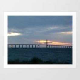 Sunset behind Oresund Bridge  Art Print