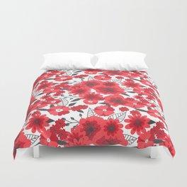 Red flowers pattern 4 Duvet Cover