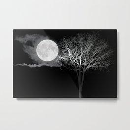 Full Moon Night Cloud Tree Metal Print