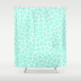 Light Blue Glitter Giraffe Print Shower Curtain