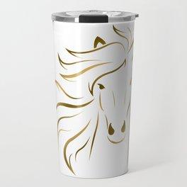 Golden Horse Drawing Travel Mug