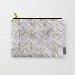 marble and gold geometric Carry-All Pouch