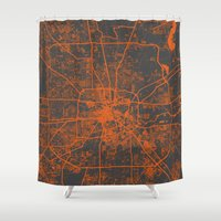houston Shower Curtains featuring Houston map by Map Map Maps