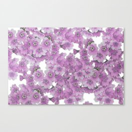 Pink Flowers on White Canvas Print