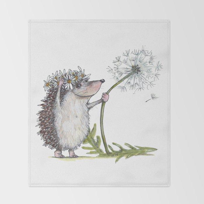 Hedgehog & Dandelion Throw Blanket