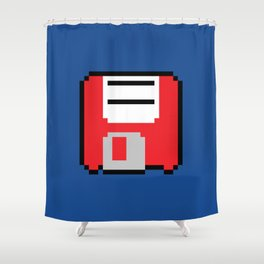 Floppy Disk - Red Shower Curtain