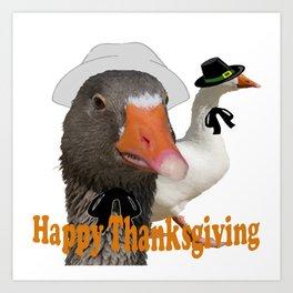 Happy Thanksgiving Pilgrims Art Print