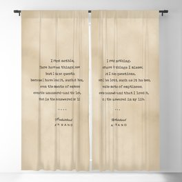 Ayn Rand Quote 03 - Typewriter Quote on Old Paper - Minimalist Literary Print Blackout Curtain