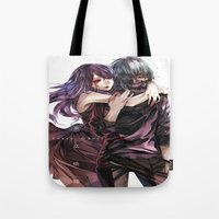 tokyo ghoul Tote Bags featuring kankei tokyo ghoul by Lee Chao Charlie Vang