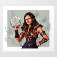 xena Art Prints featuring Allison as Xena by littlecofiegirl