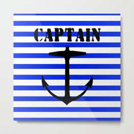 Captain and anchor logo Metal Print