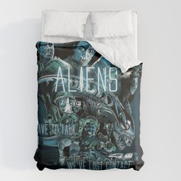 Aliens Illustration Tribute (Black Background with Quote) Comforters