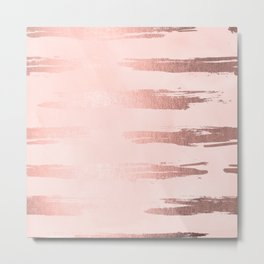 Rosegold Pink Stripes Metal Print