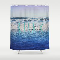 relax Shower Curtains featuring Relax by Leah Flores