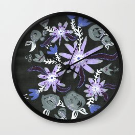 Nocturne Blooms Wall Clock