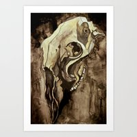animal skull Art Prints featuring Animal Skull by Franzi Ehmer