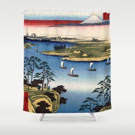 Wild Goose Hill and the Tone River by Hiroshige Shower Curtain