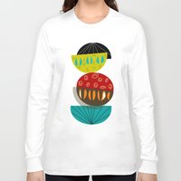 mid century Long Sleeve T-shirts featuring Mid-Century Modern Abstract Half Moons by Kippygirl