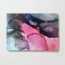 Pink and Navy Alcohol Ink Painting Metal Print