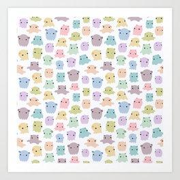 Colourful dumbo octopus pattern Art Print