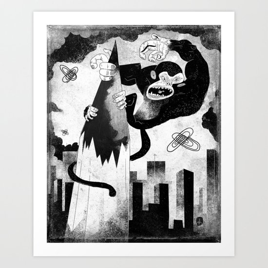 King Kong Sized Writer's Block Art Print