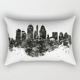 Cincinnati Skyline Black and White Rectangular Pillow