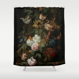 """Ernest Stuven """"Still life of flowers in a glass vase with a butterfly on a ledge"""" Shower Curtain"""