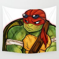 tmnt Wall Tapestries featuring chibi tmnt Raphael by Noodles ^7^