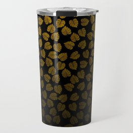 Gold Metallic Foil Photo-Effect Monstera Giant Tropical Leaves Faded on Solid Black Travel Mug
