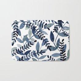 Watercolor branches - indigo Bath Mat