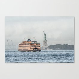 Staten Island Ferry & Statue of Liberty Canvas Print