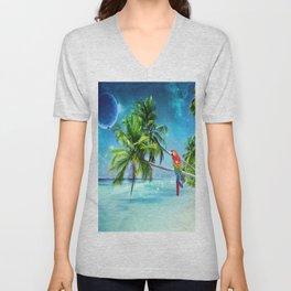 Parrot in the beach Unisex V-Neck