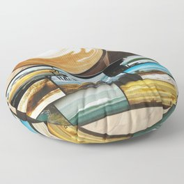 postcard from raglan new zealand with a coffee cup Floor Pillow