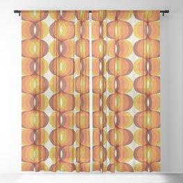 Orange, Brown, and Ivory Retro 1960s Wavy Pattern Sheer Curtain