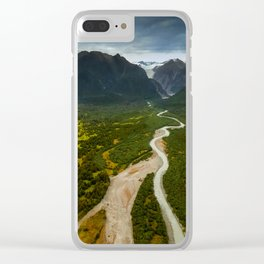 New Zealand - Flying through the Fox Glacier valley Clear iPhone Case