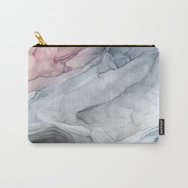 Pastel Blush, Grey and Blue Ink Clouds Painting Carry-All Pouch
