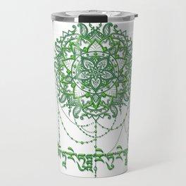 Green Tara Mantra with Mandala Travel Mug