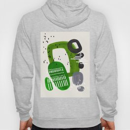 Fun Mid Century Modern Abstract Minimalist Olive Green Rings Grey Black Accent Hoody