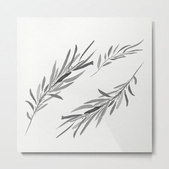 Eucalyptus leaves black and white Metal Print