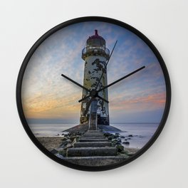 Sunset at the Lighthouse Wall Clock