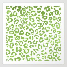 Modern green watercolor leopard  ombre greenery color of the year pattern Art Print