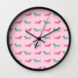 Cute dog lovers with dots in pink background Wall Clock