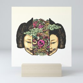 Split Head Gueisha Doodle Mini Art Print