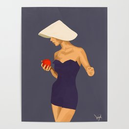 At The Beach: Red Apple Poster